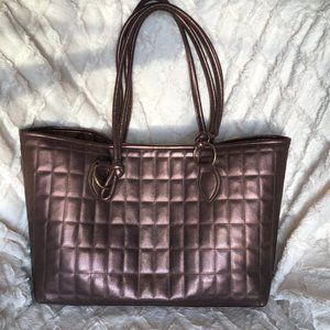 Metallic Quilted Brown Tote Bag